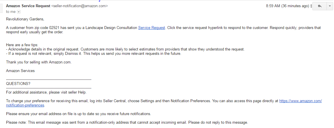 Amazon Home Services review email 01